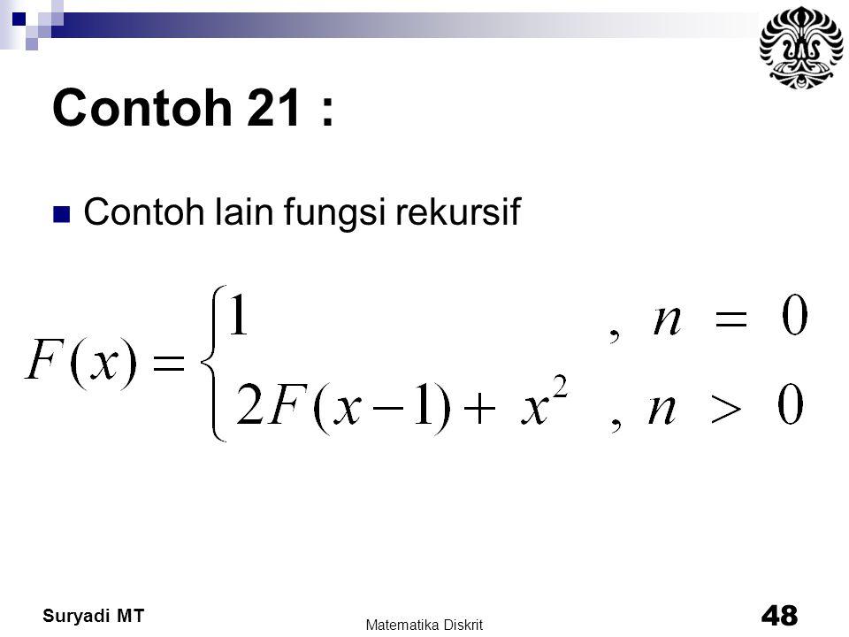Suryadi MT Contoh 21 : Contoh lain fungsi rekursif Matematika Diskrit 48