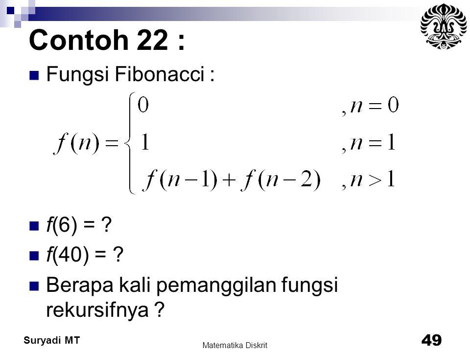 Suryadi MT Contoh 22 : Fungsi Fibonacci : f(6) = ? f(40) = ? Berapa kali pemanggilan fungsi rekursifnya ? Matematika Diskrit 49