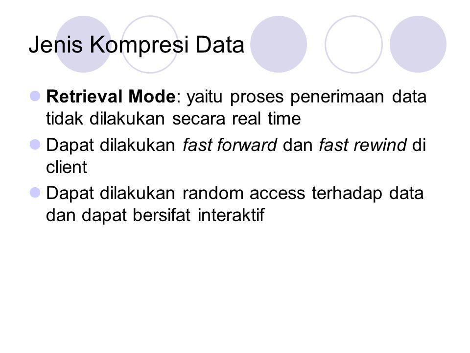 Jenis Kompresi Data Retrieval Mode: yaitu proses penerimaan data tidak dilakukan secara real time Dapat dilakukan fast forward dan fast rewind di clie