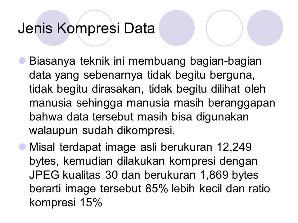 Jenis Kompresi Data Biasanya teknik ini membuang bagian-bagian data yang sebenarnya tidak begitu berguna, tidak begitu dirasakan, tidak begitu dilihat