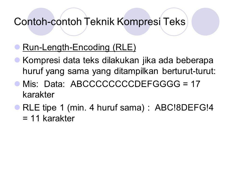 Contoh-contoh Teknik Kompresi Teks Run-Length-Encoding (RLE) Kompresi data teks dilakukan jika ada beberapa huruf yang sama yang ditampilkan berturut-
