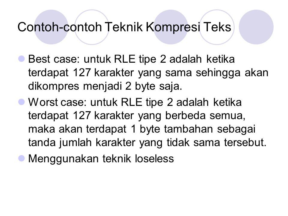 Contoh-contoh Teknik Kompresi Teks Best case: untuk RLE tipe 2 adalah ketika terdapat 127 karakter yang sama sehingga akan dikompres menjadi 2 byte sa