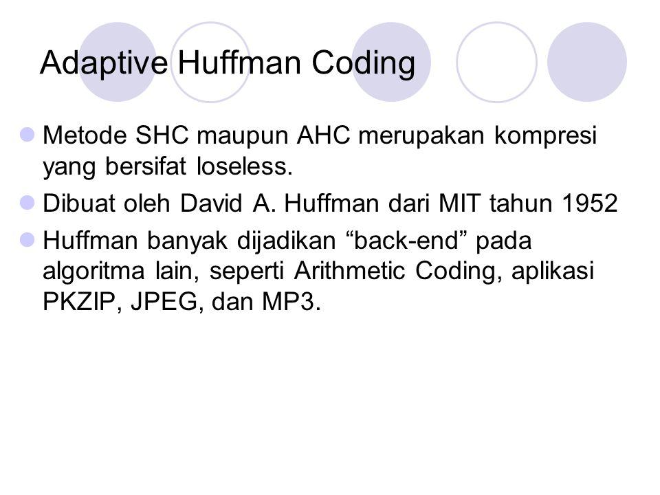 Adaptive Huffman Coding Metode SHC maupun AHC merupakan kompresi yang bersifat loseless. Dibuat oleh David A. Huffman dari MIT tahun 1952 Huffman bany