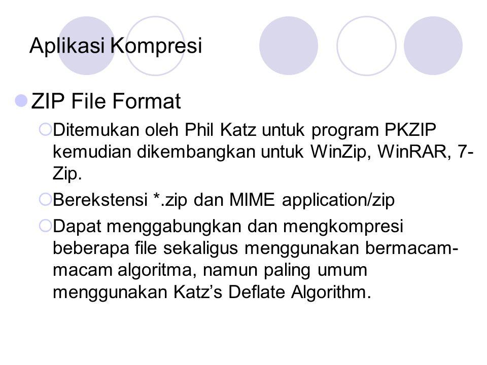 Aplikasi Kompresi ZIP File Format  Ditemukan oleh Phil Katz untuk program PKZIP kemudian dikembangkan untuk WinZip, WinRAR, 7- Zip.  Berekstensi *.z