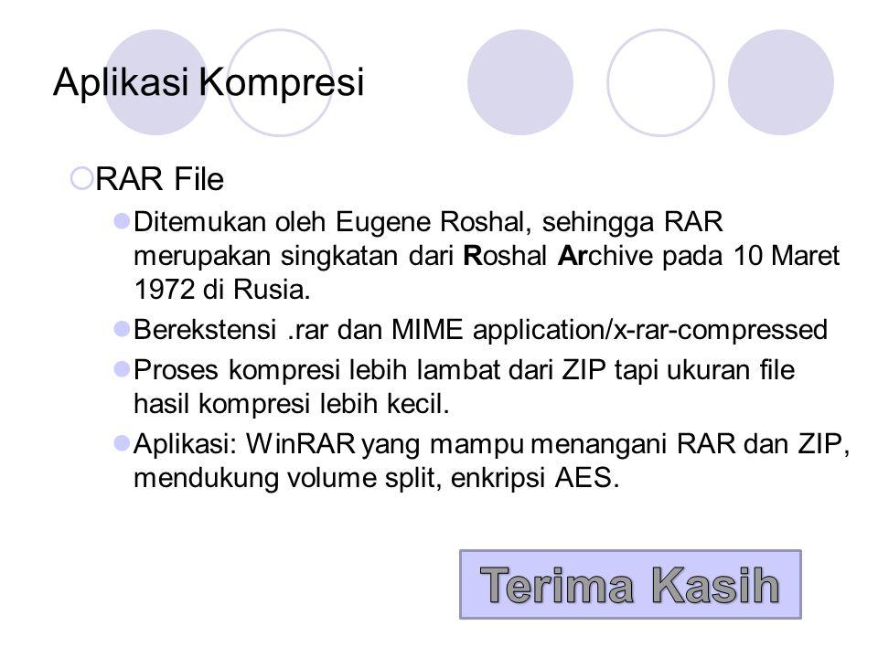 Aplikasi Kompresi  RAR File Ditemukan oleh Eugene Roshal, sehingga RAR merupakan singkatan dari Roshal Archive pada 10 Maret 1972 di Rusia. Bereksten