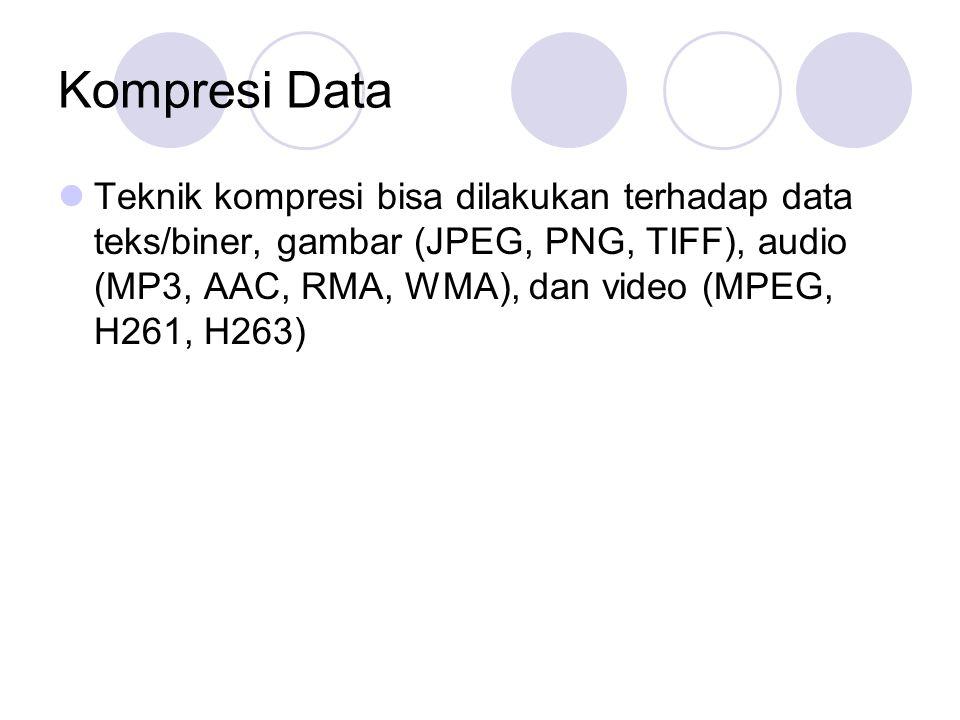 Kompresi Data Teknik kompresi bisa dilakukan terhadap data teks/biner, gambar (JPEG, PNG, TIFF), audio (MP3, AAC, RMA, WMA), dan video (MPEG, H261, H2