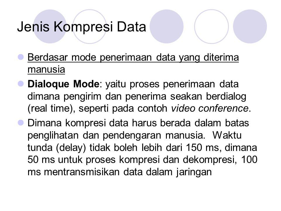 Jenis Kompresi Data Retrieval Mode: yaitu proses penerimaan data tidak dilakukan secara real time Dapat dilakukan fast forward dan fast rewind di client Dapat dilakukan random access terhadap data dan dapat bersifat interaktif