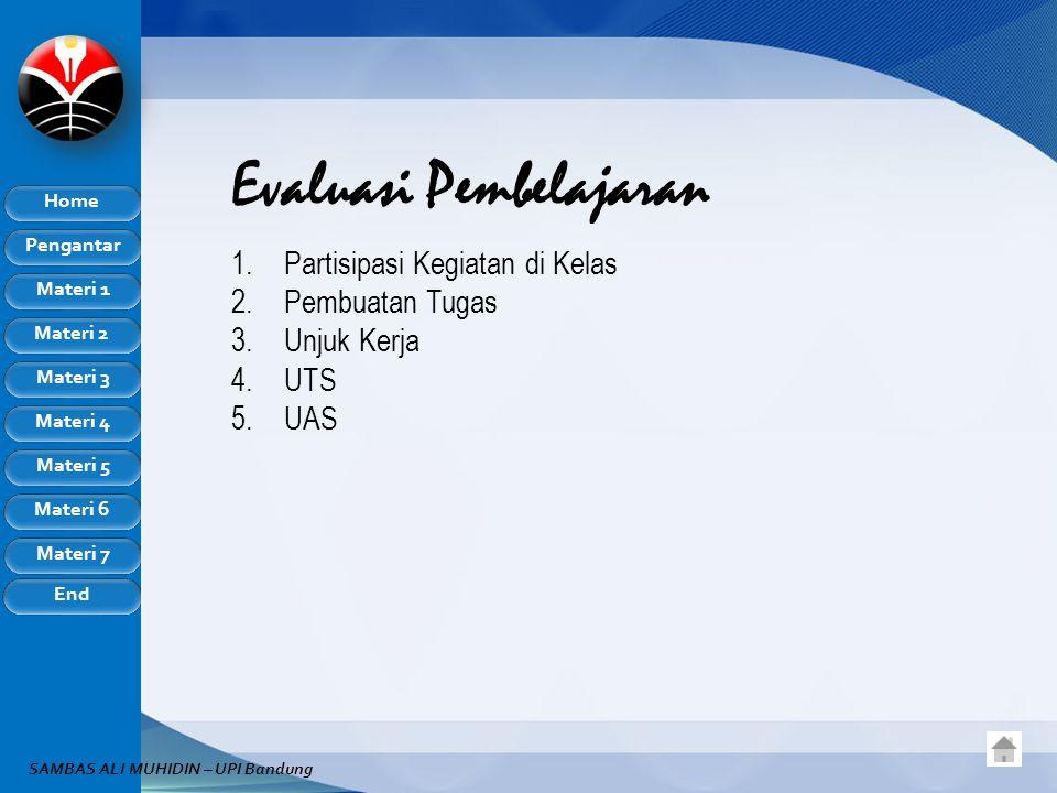Pengantar Home Materi 1 Materi 2 Materi 3 Materi 4 Materi 5 Materi 6 Materi 7 End SAMBAS ALI MUHIDIN – UPI Bandung Evaluasi Pembelajaran 1.Partisipasi