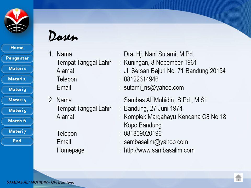 Pengantar Home Materi 1 Materi 2 Materi 3 Materi 4 Materi 5 Materi 6 Materi 7 End SAMBAS ALI MUHIDIN – UPI Bandung Dosen 1.Nama: Dra.