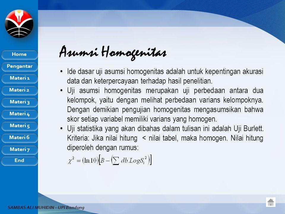 Pengantar Home Materi 1 Materi 2 Materi 3 Materi 4 Materi 5 Materi 6 Materi 7 End SAMBAS ALI MUHIDIN – UPI Bandung Asumsi Homogenitas Ide dasar uji asumsi homogenitas adalah untuk kepentingan akurasi data dan keterpercayaan terhadap hasil penelitian.
