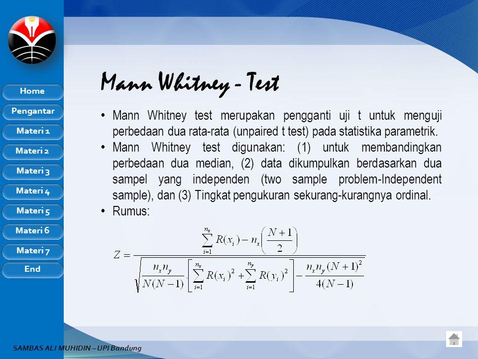 Pengantar Home Materi 1 Materi 2 Materi 3 Materi 4 Materi 5 Materi 6 Materi 7 End SAMBAS ALI MUHIDIN – UPI Bandung Mann Whitney - Test Mann Whitney test merupakan pengganti uji t untuk menguji perbedaan dua rata-rata (unpaired t test) pada statistika parametrik.
