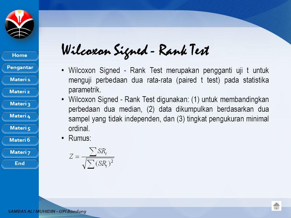 Pengantar Home Materi 1 Materi 2 Materi 3 Materi 4 Materi 5 Materi 6 Materi 7 End SAMBAS ALI MUHIDIN – UPI Bandung Wilcoxon Signed - Rank Test Wilcoxo