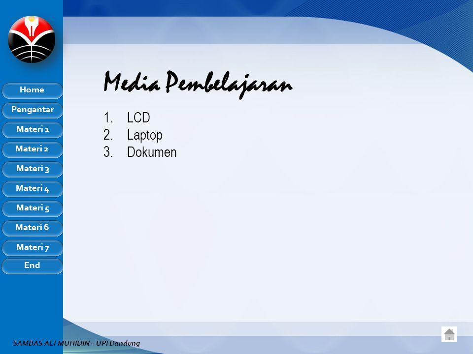 Pengantar Home Materi 1 Materi 2 Materi 3 Materi 4 Materi 5 Materi 6 Materi 7 End SAMBAS ALI MUHIDIN – UPI Bandung Media Pembelajaran 1.LCD 2.Laptop 3.Dokumen