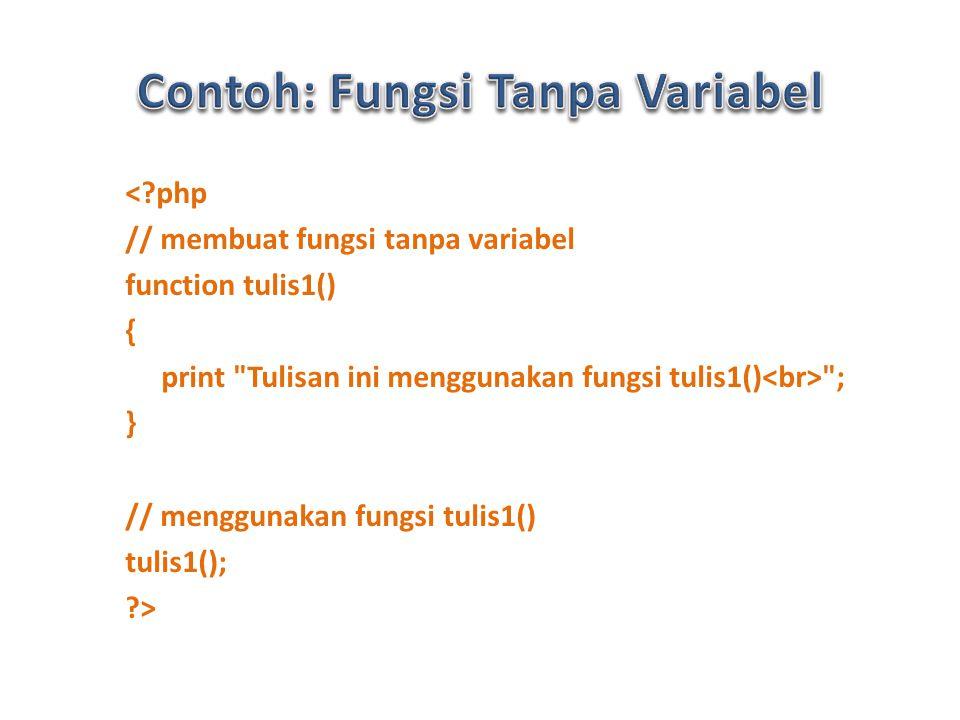 < php // membuat fungsi tanpa variabel function tulis1() { print Tulisan ini menggunakan fungsi tulis1() ; } // menggunakan fungsi tulis1() tulis1(); >