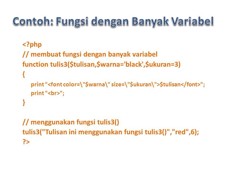 < php // membuat fungsi dengan banyak variabel function tulis3($tulisan,$warna= black ,$ukuran=3) { print $tulisan ; print ; } // menggunakan fungsi tulis3() tulis3( Tulisan ini menggunakan fungsi tulis3() , red ,6); >