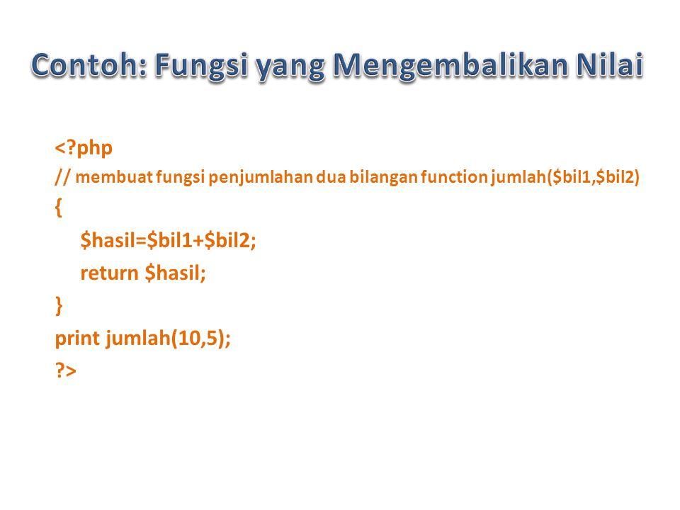 < php // membuat fungsi penjumlahan dua bilangan function jumlah($bil1,$bil2) { $hasil=$bil1+$bil2; return $hasil; } print jumlah(10,5); >