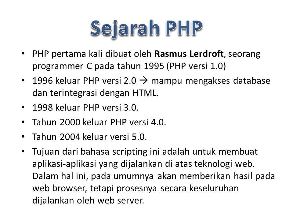 PHP pertama kali dibuat oleh Rasmus Lerdroft, seorang programmer C pada tahun 1995 (PHP versi 1.0) 1996 keluar PHP versi 2.0  mampu mengakses database dan terintegrasi dengan HTML.