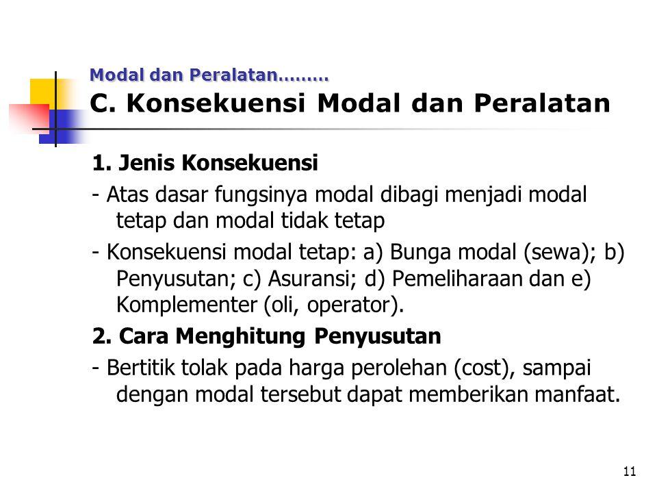 11 C. Konsekuensi Modal dan Peralatan 1. Jenis Konsekuensi - Atas dasar fungsinya modal dibagi menjadi modal tetap dan modal tidak tetap - Konsekuensi