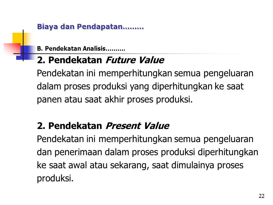 22 B. Pendekatan Analisis………. 2. Pendekatan Future Value Pendekatan ini memperhitungkan semua pengeluaran dalam proses produksi yang diperhitungkan ke