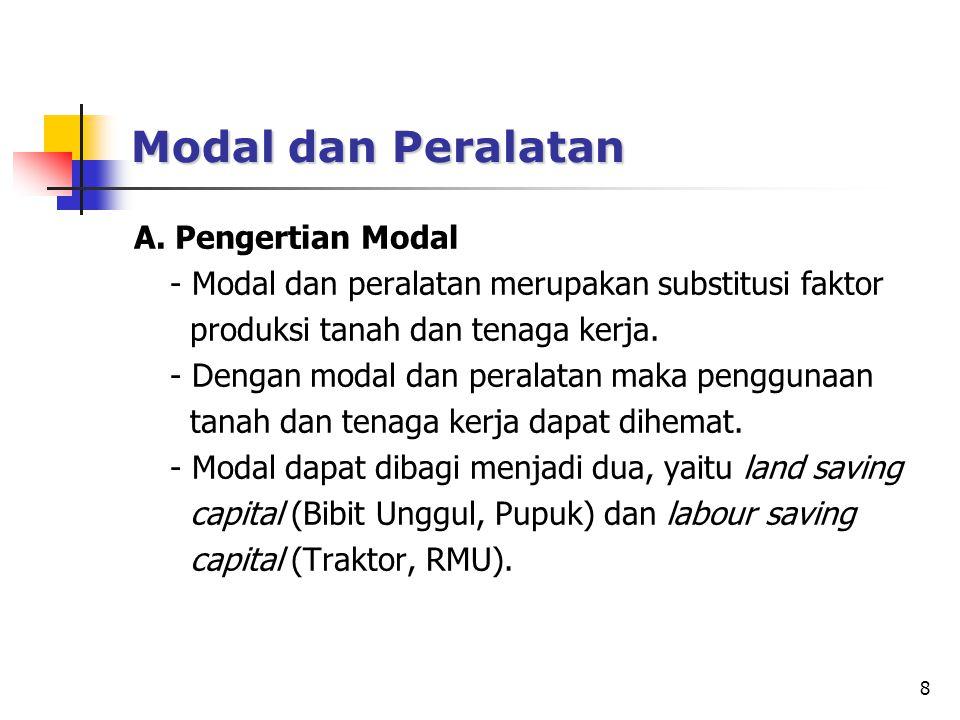 8 Modal dan Peralatan A. Pengertian Modal - Modal dan peralatan merupakan substitusi faktor produksi tanah dan tenaga kerja. - Dengan modal dan perala
