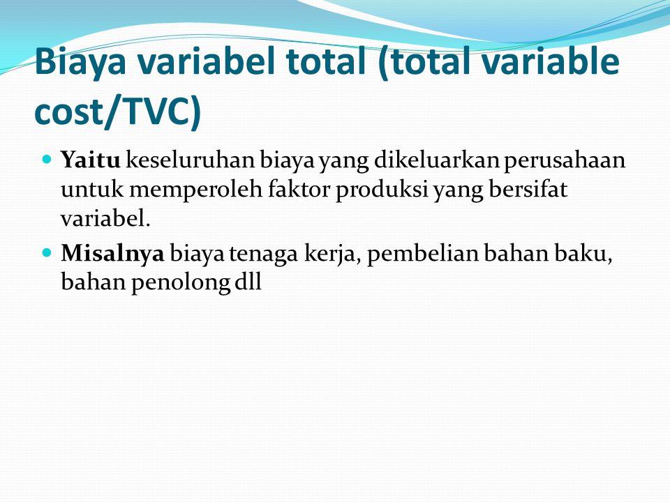 Biaya variabel total (total variable cost/TVC) Yaitu keseluruhan biaya yang dikeluarkan perusahaan untuk memperoleh faktor produksi yang bersifat variabel.