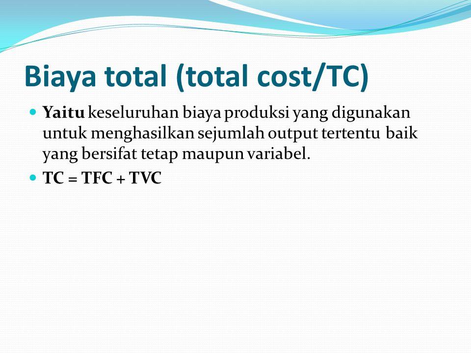 Biaya total (total cost/TC) Yaitu keseluruhan biaya produksi yang digunakan untuk menghasilkan sejumlah output tertentu baik yang bersifat tetap maupun variabel.
