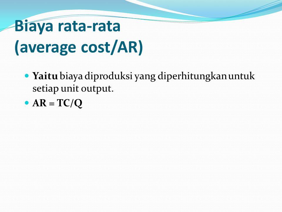 Biaya rata-rata (average cost/AR) Yaitu biaya diproduksi yang diperhitungkan untuk setiap unit output.