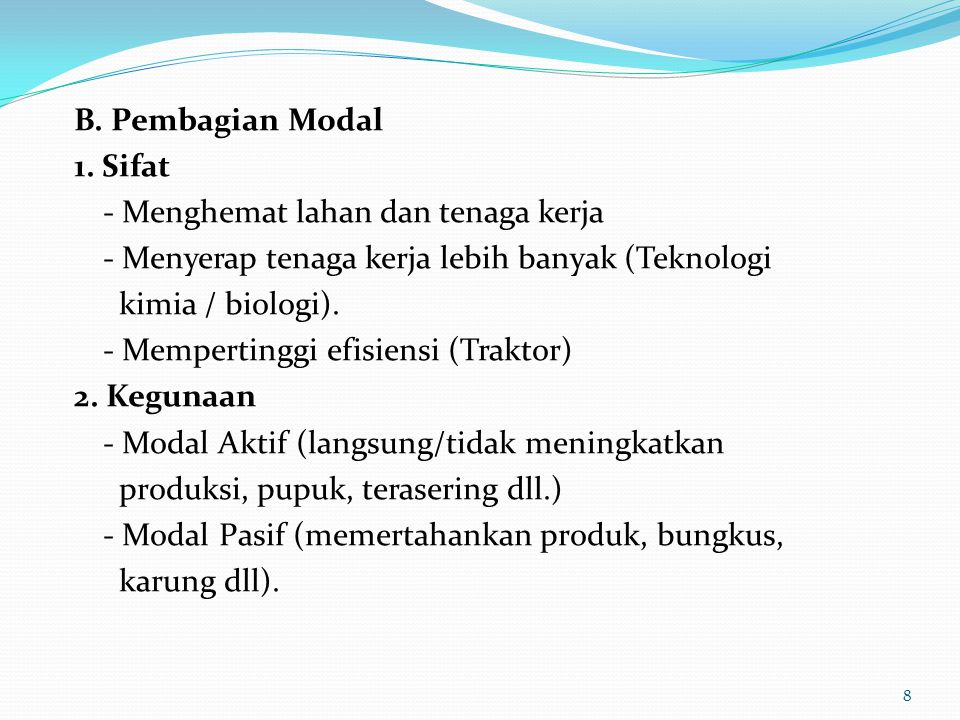 B.Pembagian Modal 1.