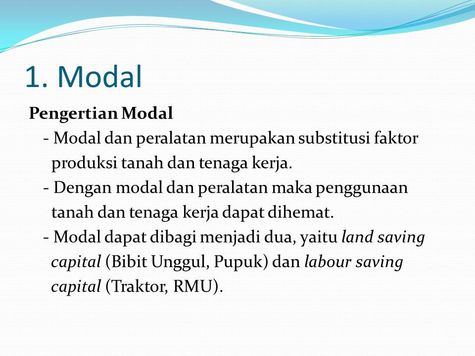1. Modal Pengertian Modal - Modal dan peralatan merupakan substitusi faktor produksi tanah dan tenaga kerja. - Dengan modal dan peralatan maka penggun