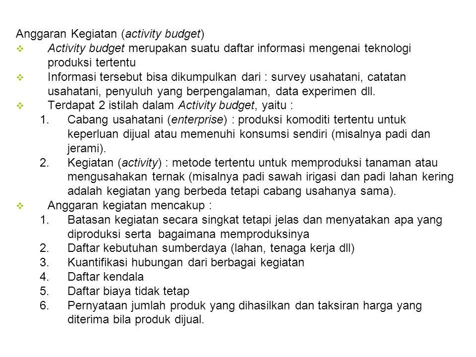 Anggaran Kegiatan (activity budget)  Activity budget merupakan suatu daftar informasi mengenai teknologi produksi tertentu  Informasi tersebut bisa