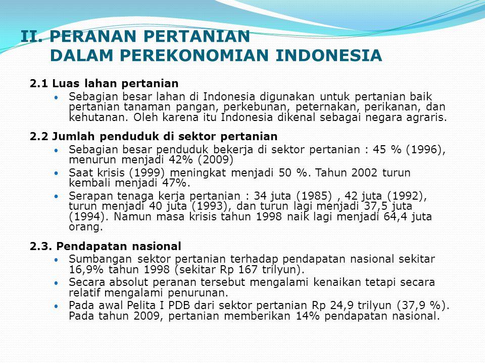 II. PERANAN PERTANIAN DALAM PEREKONOMIAN INDONESIA 2.1 Luas lahan pertanian Sebagian besar lahan di Indonesia digunakan untuk pertanian baik pertanian
