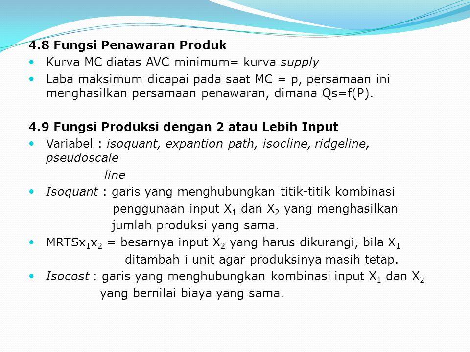 4.8 Fungsi Penawaran Produk Kurva MC diatas AVC minimum= kurva supply Laba maksimum dicapai pada saat MC = p, persamaan ini menghasilkan persamaan pen