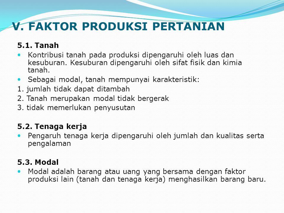 V. FAKTOR PRODUKSI PERTANIAN 5.1. Tanah Kontribusi tanah pada produksi dipengaruhi oleh luas dan kesuburan. Kesuburan dipengaruhi oleh sifat fisik dan