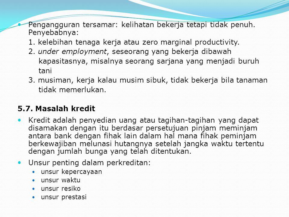 Pengangguran tersamar: kelihatan bekerja tetapi tidak penuh. Penyebabnya: 1. kelebihan tenaga kerja atau zero marginal productivity. 2. under employme