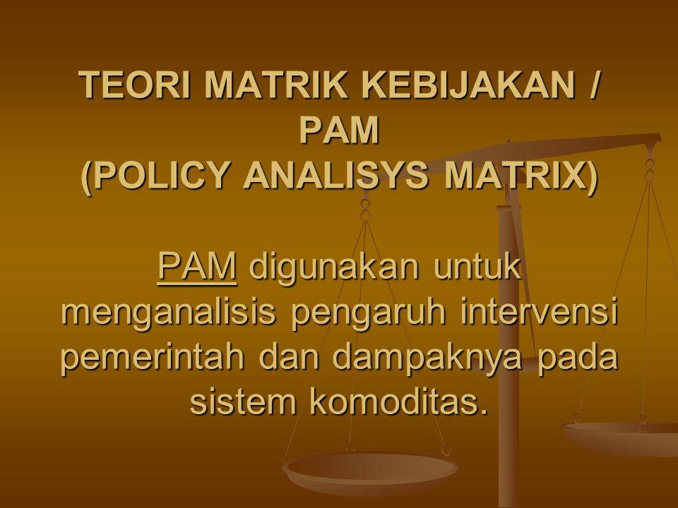 TEORI MATRIK KEBIJAKAN / PAM (POLICY ANALISYS MATRIX) PAM digunakan untuk menganalisis pengaruh intervensi pemerintah dan dampaknya pada sistem komodi