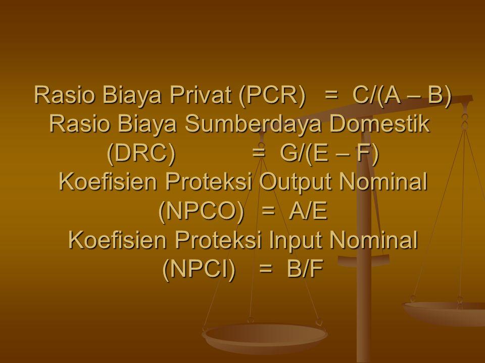 Rasio Biaya Privat (PCR)= C/(A – B) Rasio Biaya Sumberdaya Domestik (DRC)= G/(E – F) Koefisien Proteksi Output Nominal (NPCO) = A/E Koefisien Proteksi