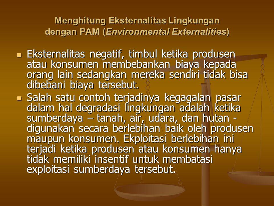 Menghitung Eksternalitas Lingkungan dengan PAM (Environmental Externalities) Eksternalitas negatif, timbul ketika produsen atau konsumen membebankan b