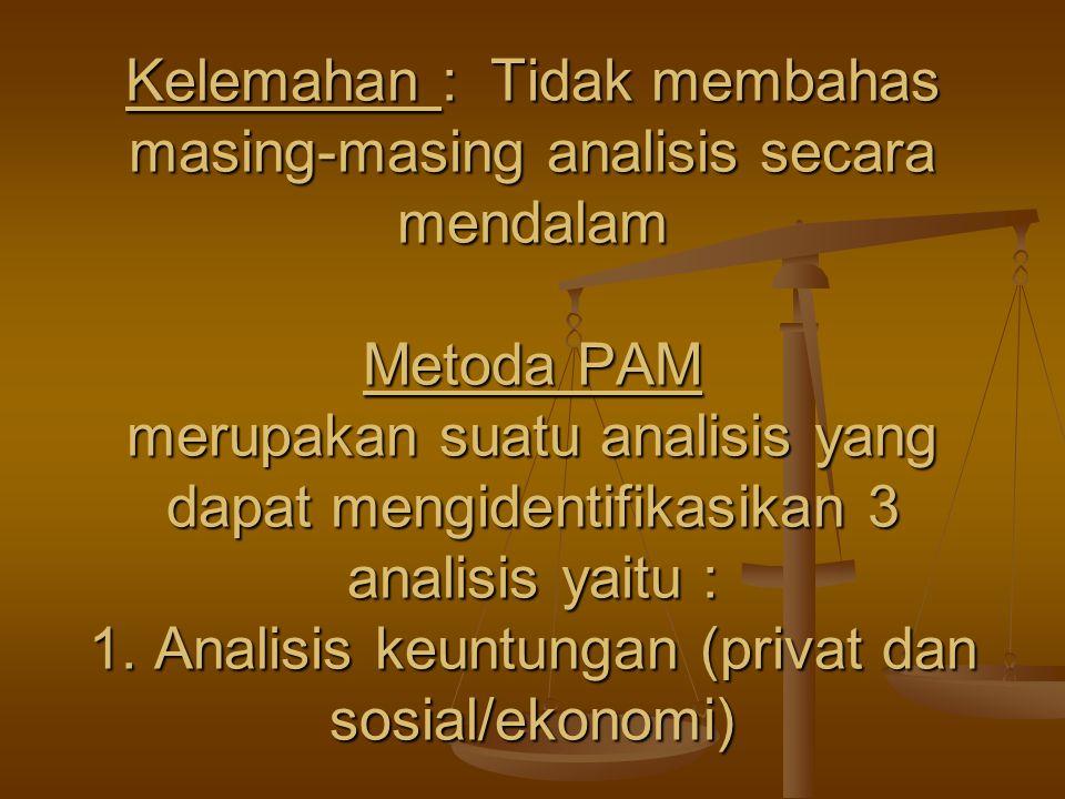 Kelemahan : Tidak membahas masing-masing analisis secara mendalam Metoda PAM merupakan suatu analisis yang dapat mengidentifikasikan 3 analisis yaitu