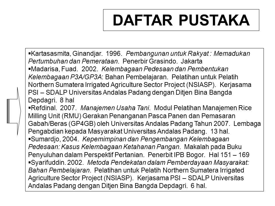  Kartasasmita, Ginandjar. 1996. Pembangunan untuk Rakyat : Memadukan Pertumbuhan dan Pemerataan. Penerbir Grasindo. Jakarta  Madarisa, Fuad. 2002. K