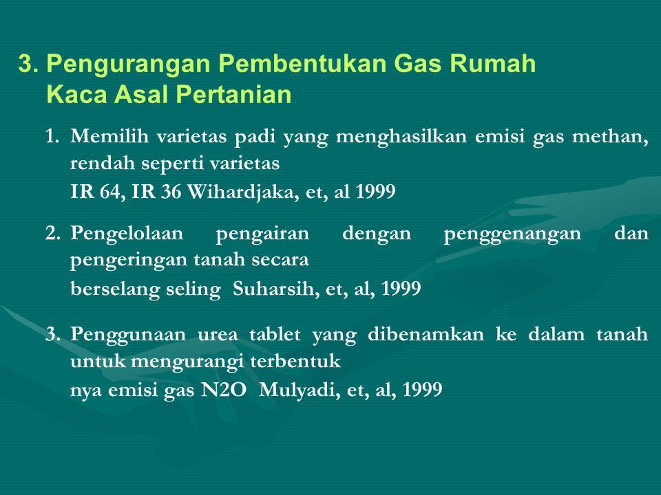 3. Pengurangan Pembentukan Gas Rumah Kaca Asal Pertanian 1.Memilih varietas padi yang menghasilkan emisi gas methan, rendah seperti varietas IR 64, IR