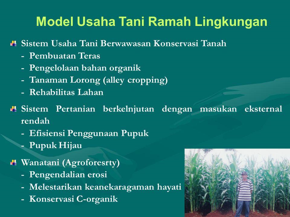 Model Usaha Tani Ramah Lingkungan Sistem Usaha Tani Berwawasan Konservasi Tanah - Pembuatan Teras - Pengelolaan bahan organik - Tanaman Lorong (alley cropping) - Rehabilitas Lahan Sistem Pertanian berkelnjutan dengan masukan eksternal rendah - Efisiensi Penggunaan Pupuk - Pupuk Hijau Wanatani (Agroforesrty) - Pengendalian erosi - Melestarikan keanekaragaman hayati - Konservasi C-organik