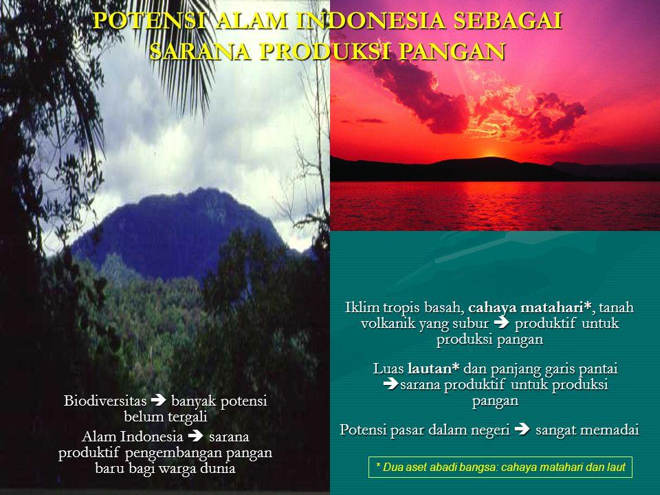 * Dua aset abadi bangsa: cahaya matahari dan laut POTENSI ALAM INDONESIA SEBAGAI SARANA PRODUKSI PANGAN Biodiversitas  banyak potensi belum tergali A