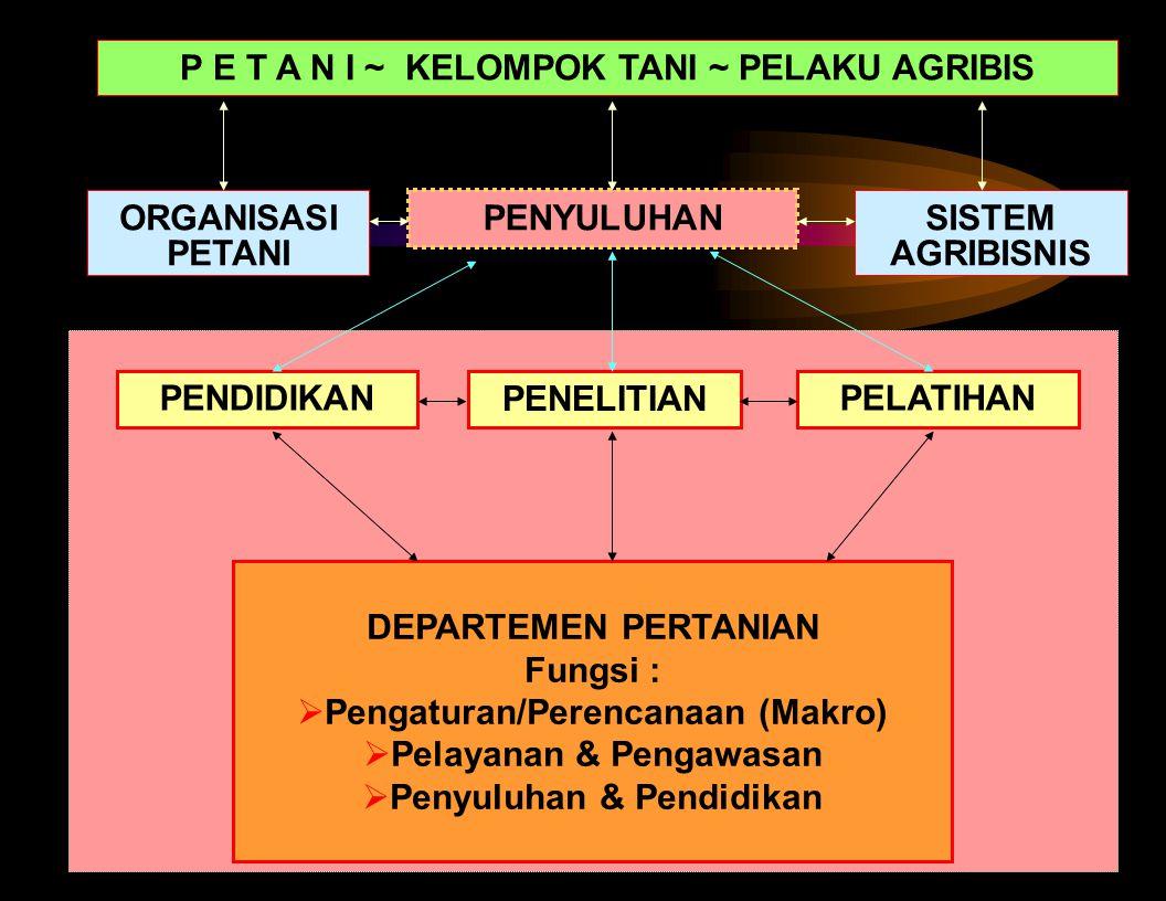 4 DEPARTEMEN PERTANIAN Fungsi :  Pengaturan/Perencanaan (Makro)  Pelayanan & Pengawasan  Penyuluhan & Pendidikan PENELITIAN PENDIDIKANPELATIHAN PENYULUHAN P E T A N I ~ KELOMPOK TANI ~ PELAKU AGRIBIS ORGANISASI PETANI SISTEM AGRIBISNIS