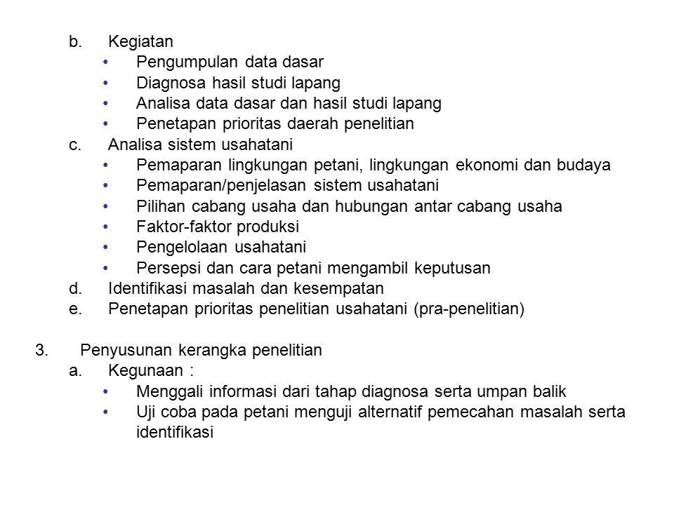b.Kegiatan Pengumpulan data dasar Diagnosa hasil studi lapang Analisa data dasar dan hasil studi lapang Penetapan prioritas daerah penelitian c.Analis