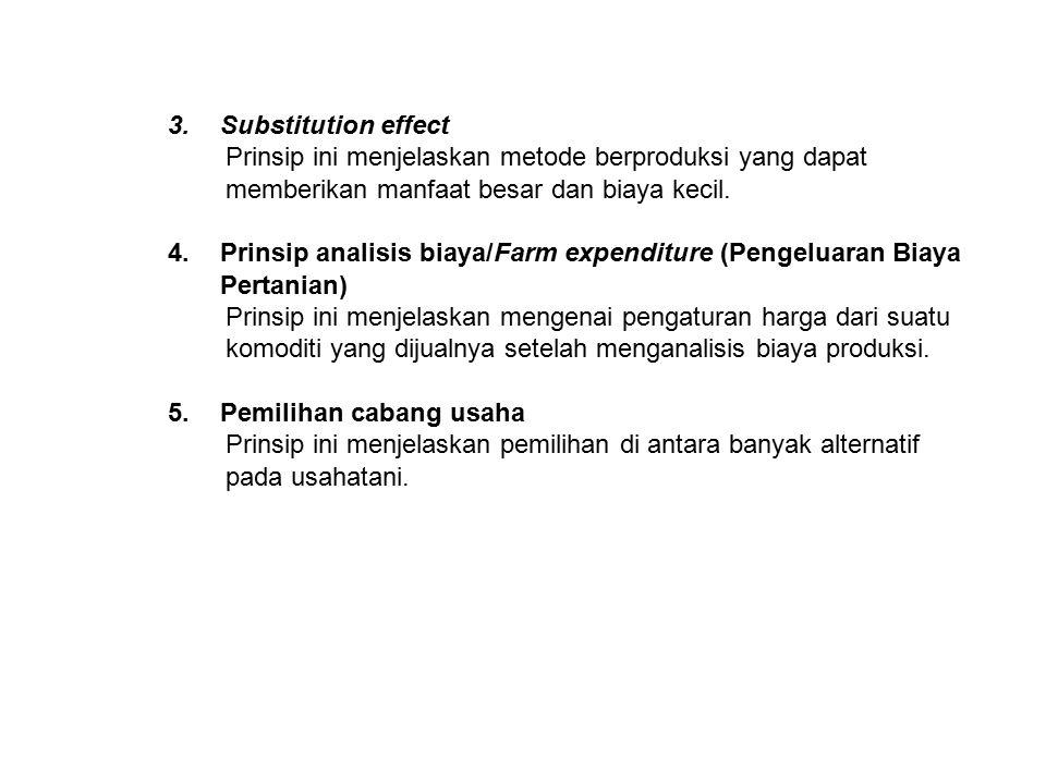3.Substitution effect Prinsip ini menjelaskan metode berproduksi yang dapat memberikan manfaat besar dan biaya kecil. 4.Prinsip analisis biaya/Farm ex