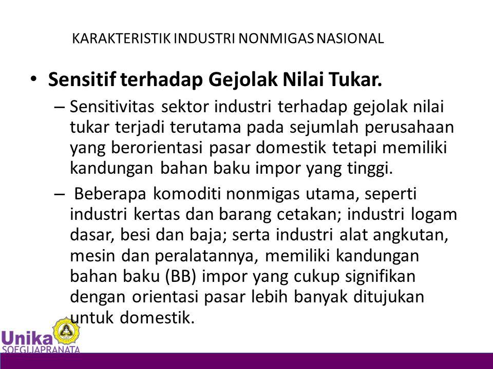 KARAKTERISTIK INDUSTRI NONMIGAS NASIONAL Sensitif terhadap Gejolak Nilai Tukar. – Sensitivitas sektor industri terhadap gejolak nilai tukar terjadi te