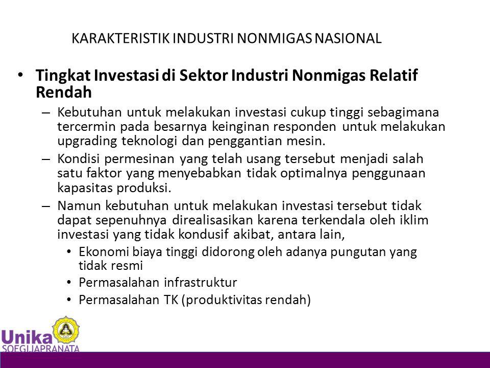 KARAKTERISTIK INDUSTRI NONMIGAS NASIONAL Tingkat Investasi di Sektor Industri Nonmigas Relatif Rendah – Kebutuhan untuk melakukan investasi cukup ting