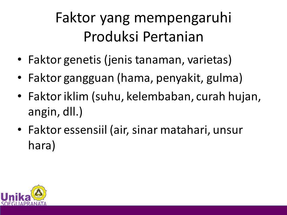 Faktor yang mempengaruhi Produksi Pertanian Faktor genetis (jenis tanaman, varietas) Faktor gangguan (hama, penyakit, gulma) Faktor iklim (suhu, kelem