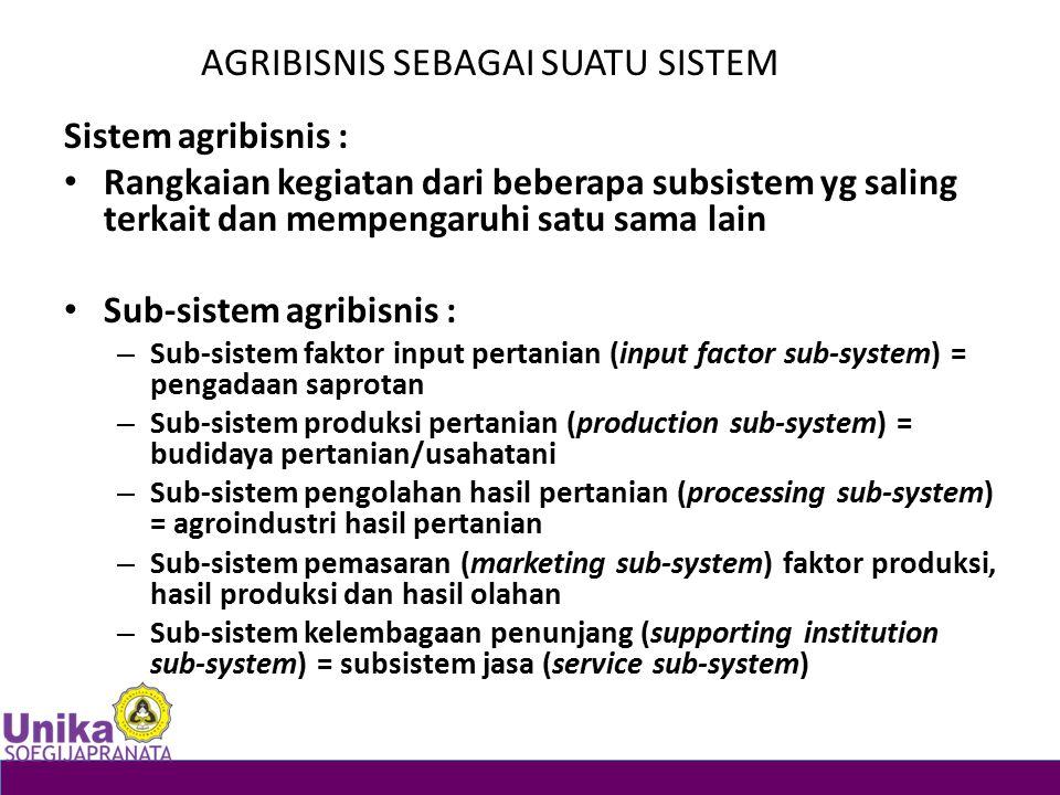 AGRIBISNIS SEBAGAI SUATU SISTEM Sistem agribisnis : Rangkaian kegiatan dari beberapa subsistem yg saling terkait dan mempengaruhi satu sama lain Sub-s