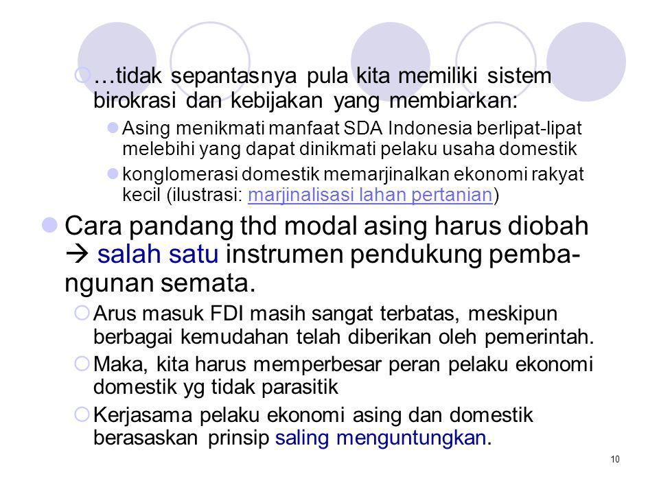 10  …tidak sepantasnya pula kita memiliki sistem birokrasi dan kebijakan yang membiarkan: Asing menikmati manfaat SDA Indonesia berlipat-lipat melebi
